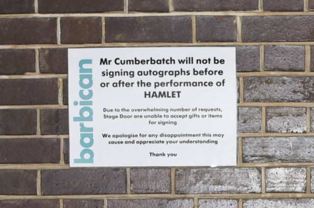 Sign seen outside The Barbican theatre in London where Benedict Cumberbatch is playing Hamlet
