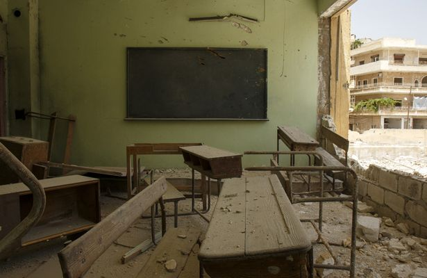 Destroyed school in Syria
