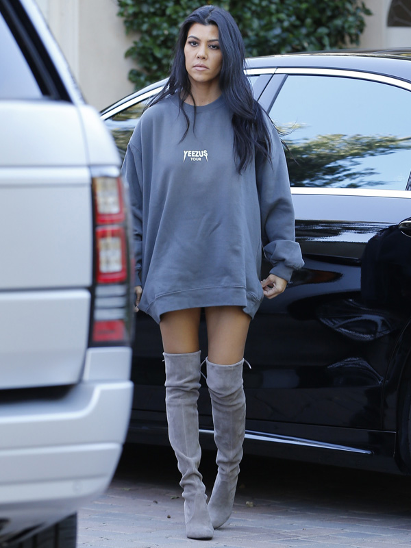 Reality stars and sisters, Kim and Kourtney Kardashian spotted in Woodland Hills while getting ready to film
