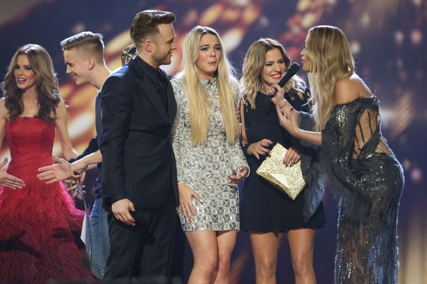 Louisa Johnson, Olly Murs, Simon Cowell, Rita Ora and Caroline Flack on The X-Factor Final