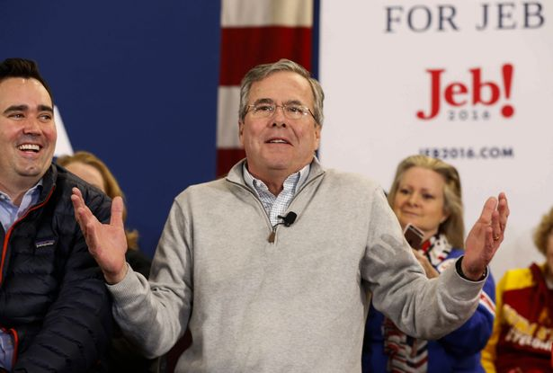 Republican presidential hopeful Jeb Bush speaks to supporters at the Embassy Suites prior to the Iowa caucus