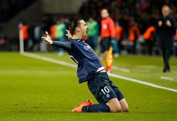 Zlatan Ibrahimovic celebrates scoring the first goal for Paris St Germain
