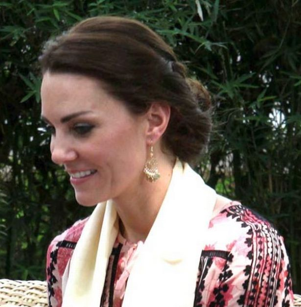 Kate's up-do showed off the delicate chandelier drop earrings
