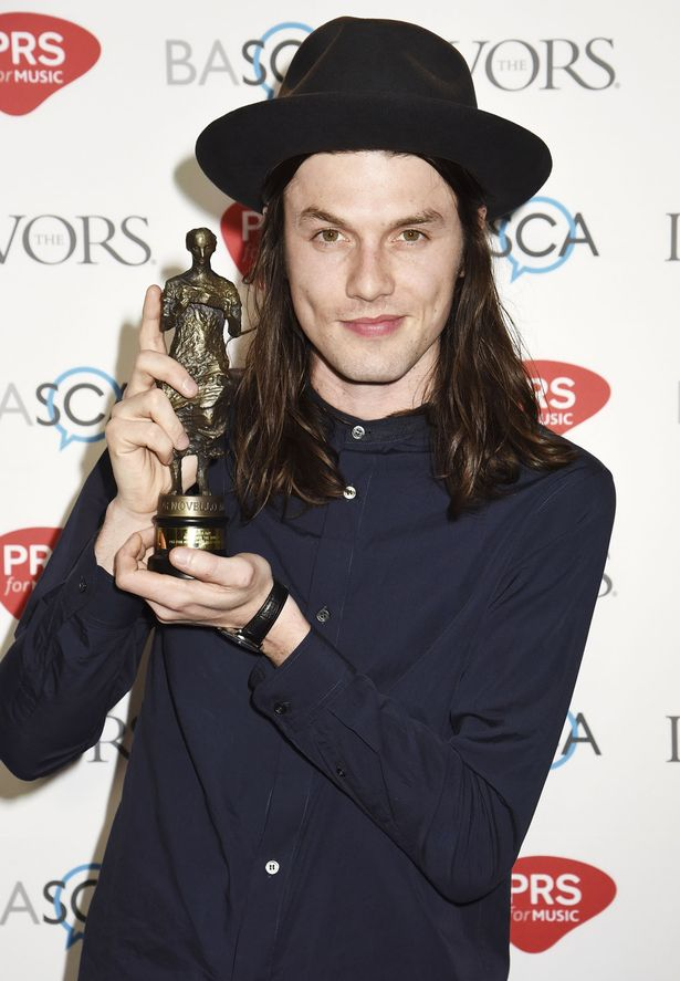 James Bay poses for a photo after winning the award for Most Performed Work in the winners room during the Ivor Novello Awards at Grosvenor House