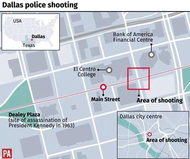 Dallas shootings map