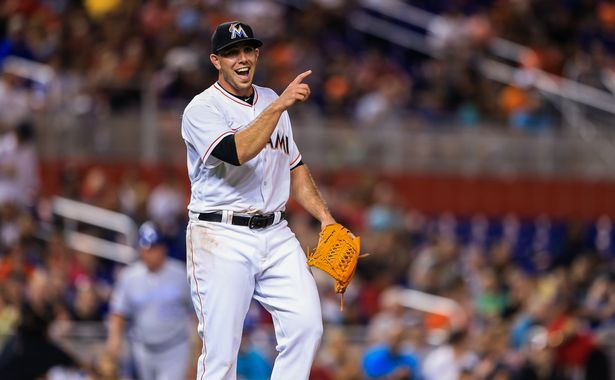 Jose Fernandez #16 of the Miami Marlins reacts during the game against the Kansas City Royals