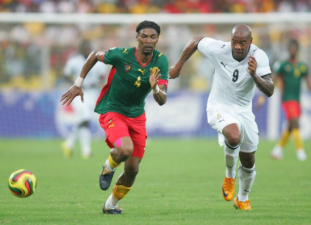 """Manuel """"Junior"""" Agogo of Ghana and Rigobert Song of Cameroon during the 2008 African Cup of Nations"""