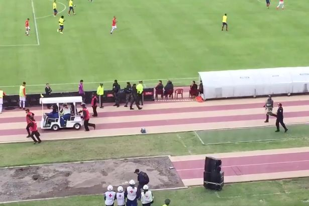 Enner Valencia chased out of a football game by police