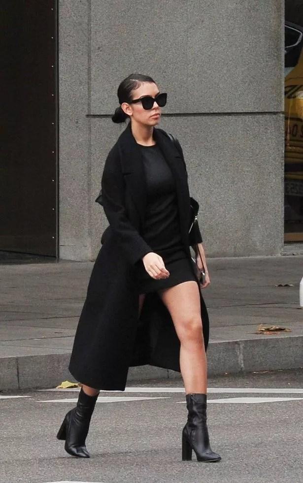 Georgina Rodriguez outside the Gucci store