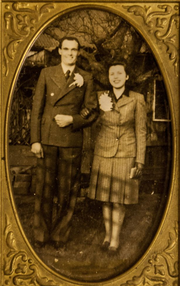 Joan Neininger with he first husband Nowman, trinity church longlevens, Gloucester