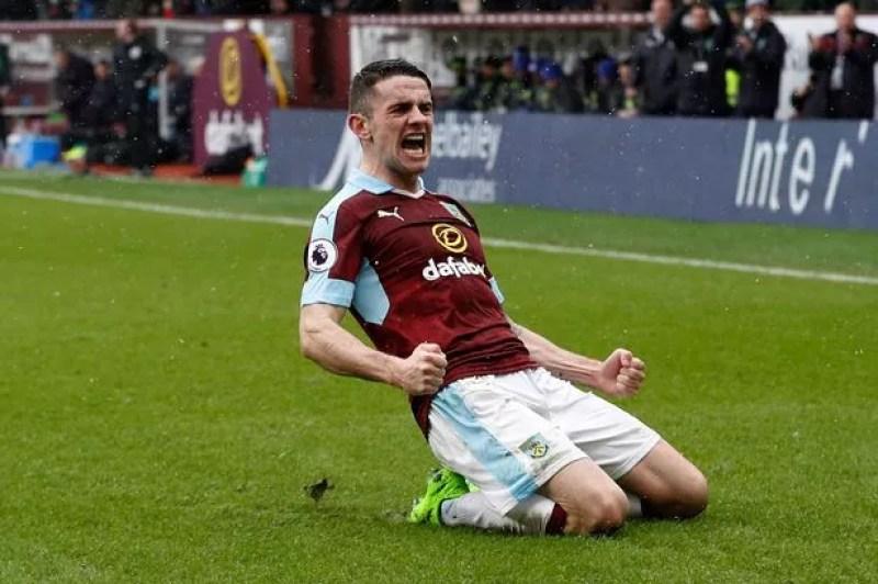 Image result for Robbie Brady celebrates scoring Burnley's equaliser against Chelsea from free-kick