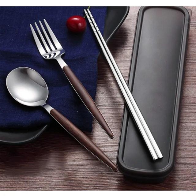 【ONE HOUSE】304仿木不銹鋼餐具組  餐具(湯匙+筷子+叉子+卡扣+盒子)