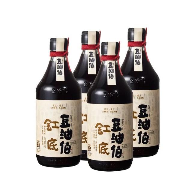 【豆油伯醬油】缸底釀造醬油500mlx4入組
