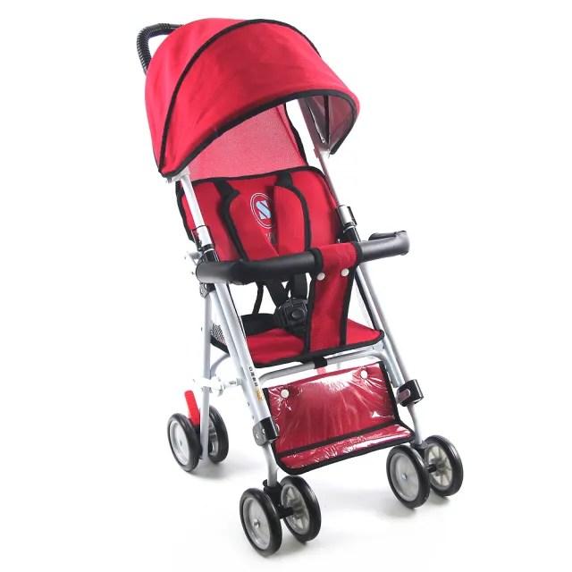 【S-Baby】最新一代抗UV五點式安全帶輕便型推車-可變座椅(紅)
