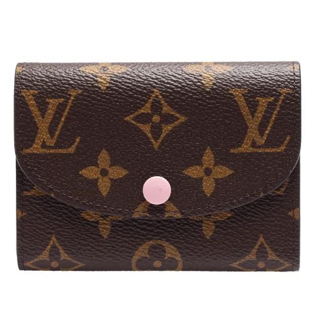 【Louis Vuitton 路易威登】M62361 ROSALIE Monogram花紋信封式零錢包(芭蕾粉色)