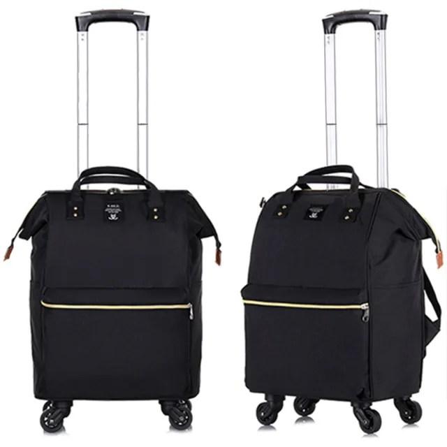 【悅生活】GoTrip 微旅行--25吋 學院風揹拉兩用旅行登機拉桿包 典藏黑(拉桿袋 行李箱 拉桿書包)