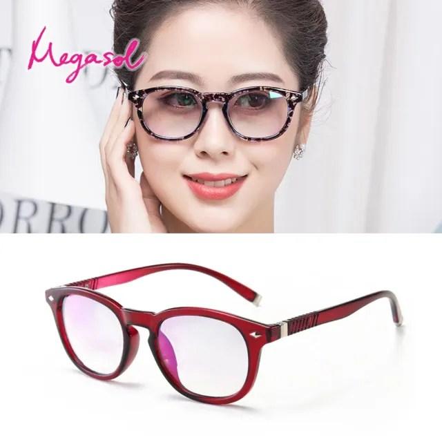 【MEGASOL】抗UV400濾藍光復古圓框雙焦點老花眼鏡(經典粗圓框雙焦點老花QF-088)