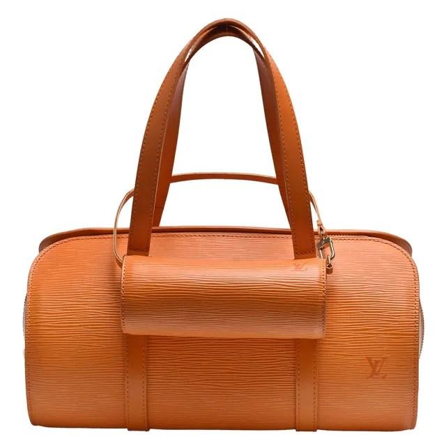 【Louis Vuitton 路易威登】M5222H經典EPI水波紋牛皮拉鍊手提圓筒包(橘色)