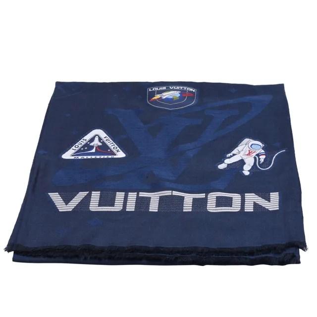 【Louis Vuitton 路易威登】MP2242經典Satellite Shine系列太空主題貼片披巾/圍巾(海軍藍X黑)