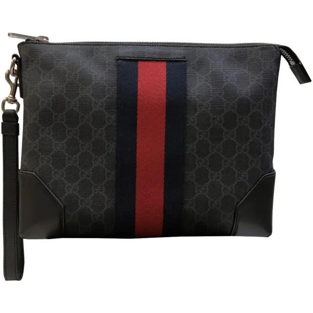 【GUCCI 古馳】523603 GG supreme條紋織帶手拿包(黑灰色)