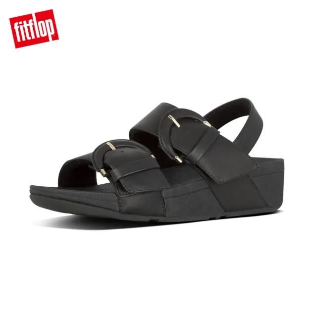 【FitFlop】AMALITA BUCKLE LEAHTER BACK-STRAP SANDALS 可調式扣環後帶涼鞋-女(黑色)