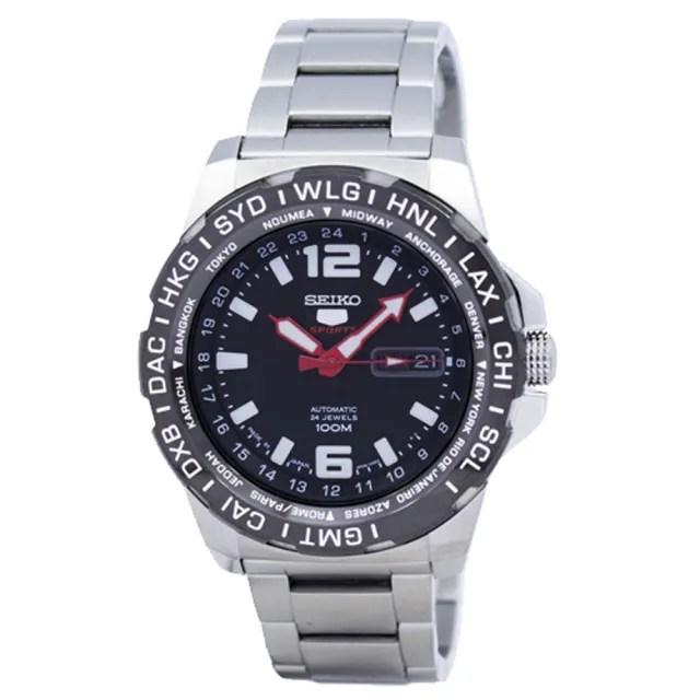 【SEIKO 精工】運動機械男錶 不鏽鋼錶帶 黑 夜光指針 防水100米(SRP685J1)