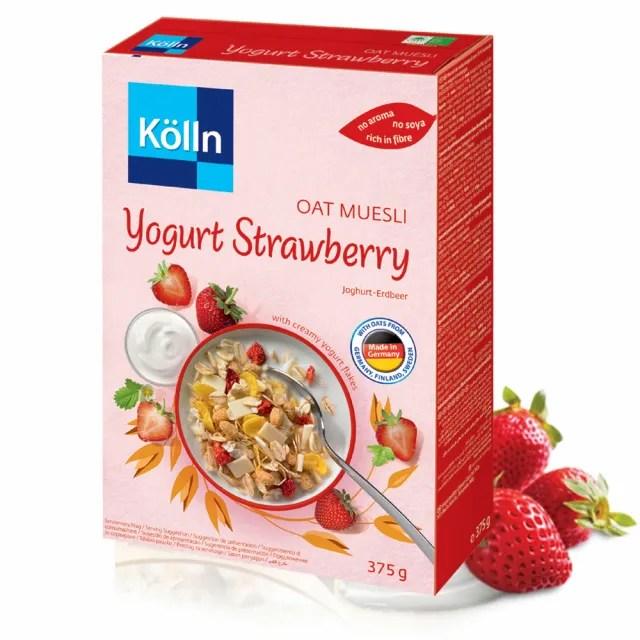 【德國KOLLN 科隆】燕麥多穀片-草莓優格 375G(燕麥 草莓 優格 早餐麥片)