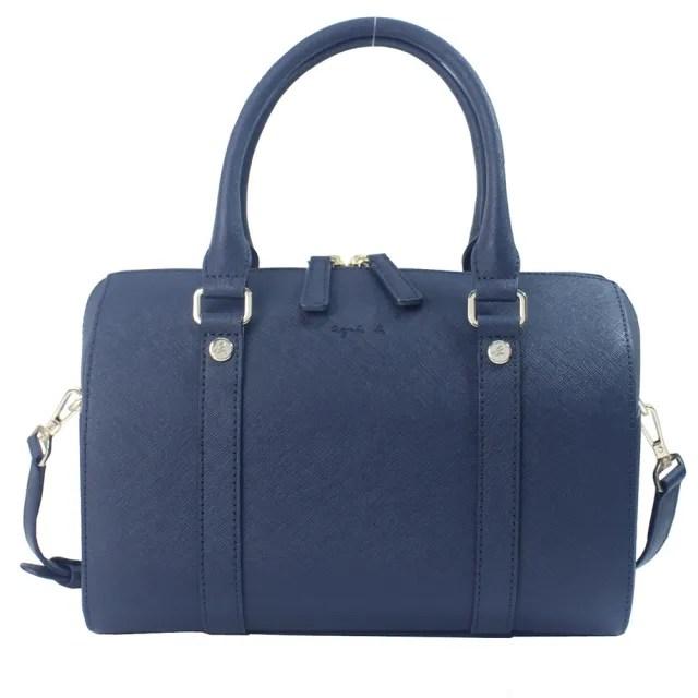 【agnes b.】草寫素面防刮皮革手提/斜背兩用波士頓包-大款(深藍)