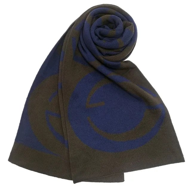 【GUCCI 古馳】雙G經典大LOGO雙面撞色羊毛圍巾(藍色/橄欖綠)
