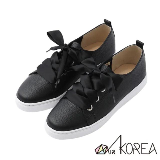 【AIRKOREA】懶人鞋-真皮鞋-全真皮手工3M防水抗污真皮甜美綁帶兩用鞋-黑(5220-1813)