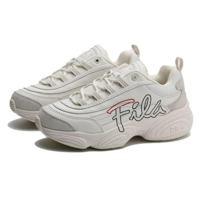 【FILA】休閒鞋 RAY RUN 米白 草寫LOGO 厚底 老爹鞋 男女(4C351U177)