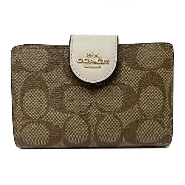 【COACH】新款C LOGO鈔票零錢袋中夾(米白/焦糖)