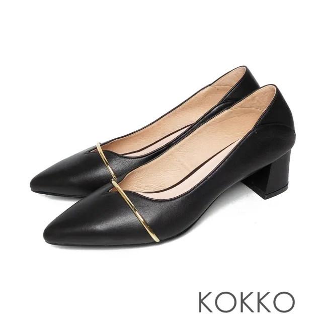 【KOKKO 集團】尖頭輕柔綿羊皮金屬條方塊粗跟鞋(霧黑色)