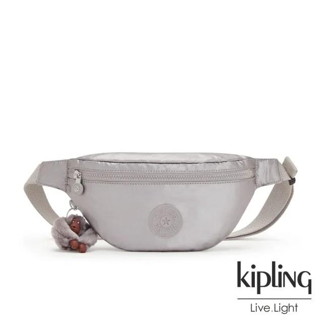 【KIPLING】知性光澤銀灰簡約拉鍊腰包-PRIA