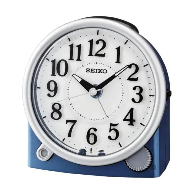 【SEIKO 精工】滑動式秒針嗶嗶聲靜音貪睡鬧鐘-沉靜藍/12X11cm(QHE176L)