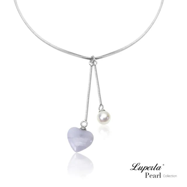 【大東山珠寶】氣質藍紋瑪瑙愛心 925銀 天然珍珠項鍊(時尚淡水珍珠瑪瑙)