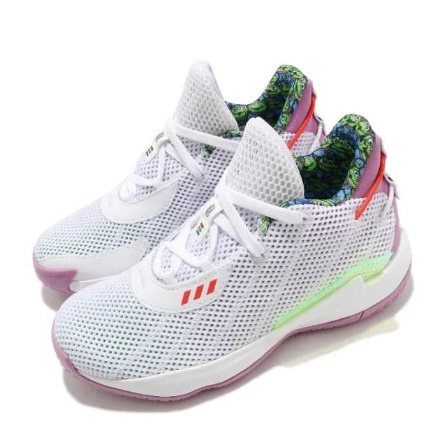 【adidas 愛迪達】籃球鞋 Dame 7 J 運動 童鞋 愛迪達 玩具總動員 巴斯光年 緩震 中童 白 紫(FY4929)