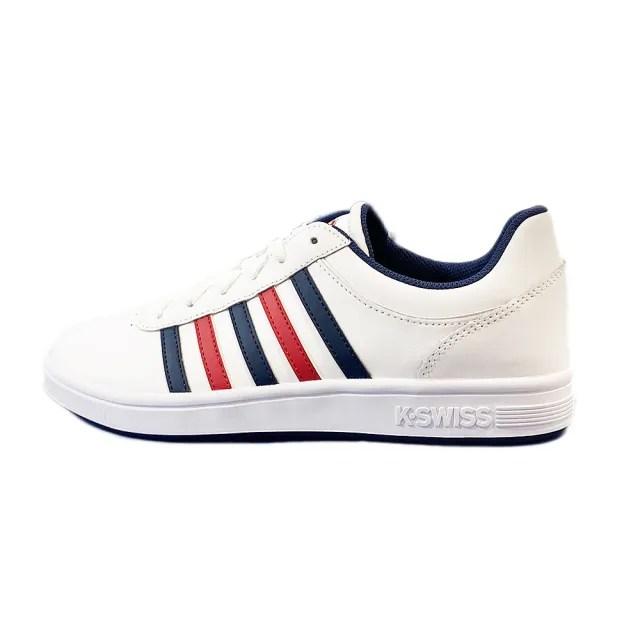 【K-SWISS】時尚運動鞋 復古 皮革 線條 男女款  A.男款 B.女款(05585130/95585130)