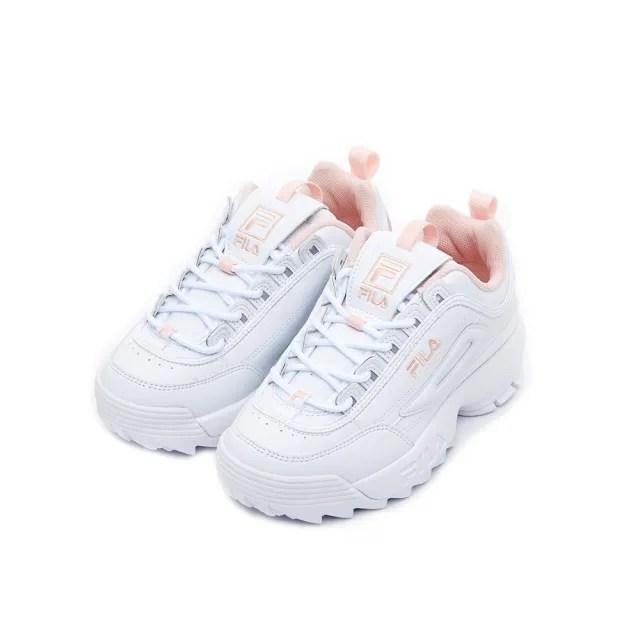【FILA】男女款 運動鞋 老爹鞋 鋸齒鞋  DISRUPTOR II 中性運動鞋-白/粉(4-C608V-115)
