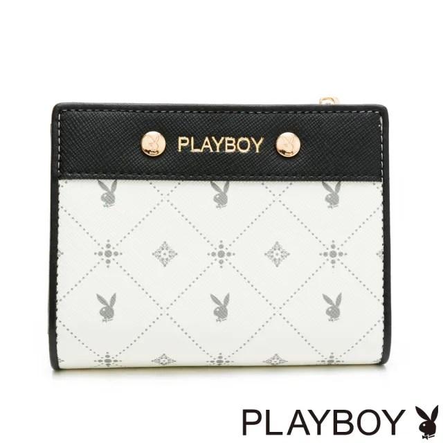 【PLAYBOY】短夾  白色黑晶兔系列(米白色)