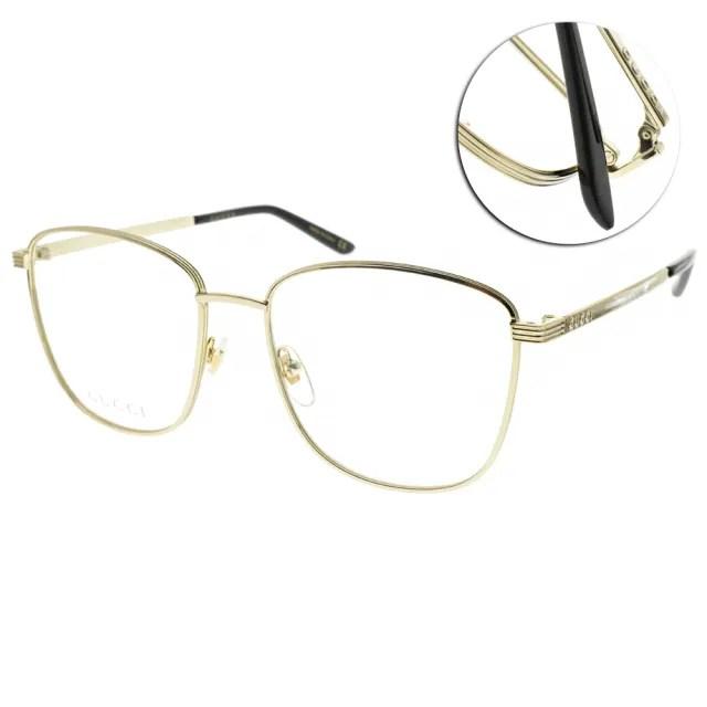 【GUCCI 古馳】光學眼鏡 時尚方框款(金#GG0804O 001)