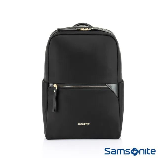 【Samsonite 新秀麗】PRUDENCE ECO 抗菌環保簡約筆電後背包 14(黑)