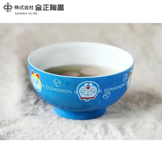【Doraemon 哆啦A夢】日本金正陶器 哆啦A夢藍色彩繪小碗5入組(日本製 日本原裝進口)