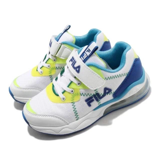 【FILA】慢跑鞋 J402V 運動休閒 童鞋 女鞋 斐樂 魔鬼氈 氣墊 緩震 舒適 中大童 白 藍(3J402V133)
