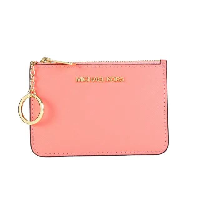 【Michael Kors】防刮皮革金字卡片鑰匙證件夾零錢包(葡萄柚色)