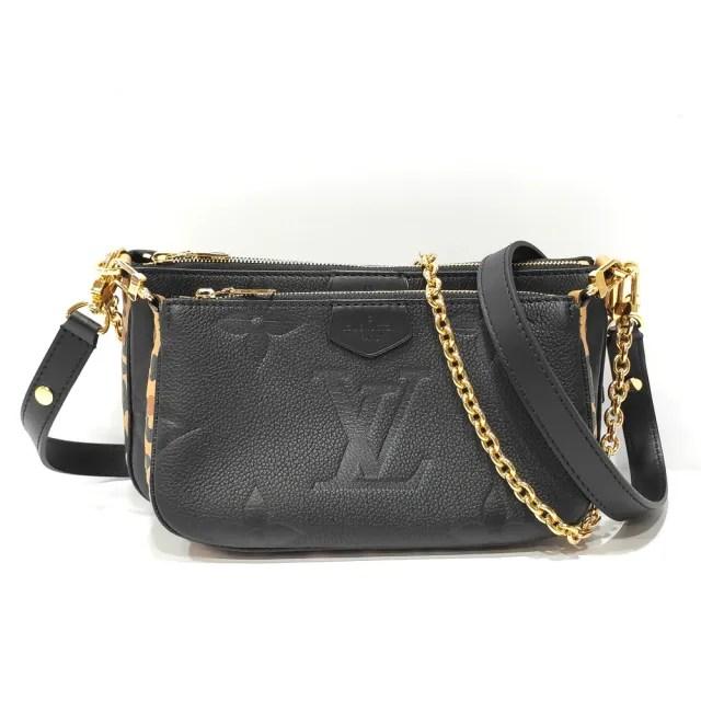 【Louis Vuitton 路易威登】M58520 Multi Pochette 壓花皮革豹紋飾邊二合一肩背斜背麻將包(黑色)