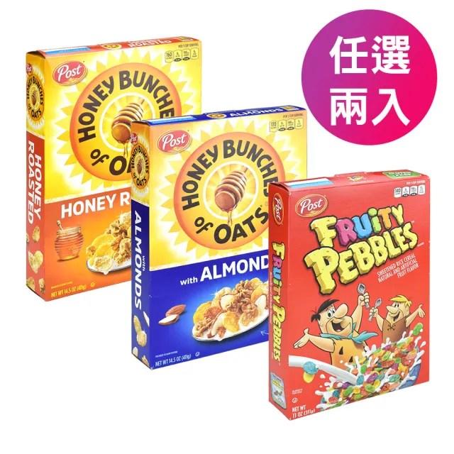 【美國POST】蜂蜜燕麥原味/蜂蜜杏仁/水果風味 早餐穀片 燕麥 多穀物 早餐麥片(任選2入)