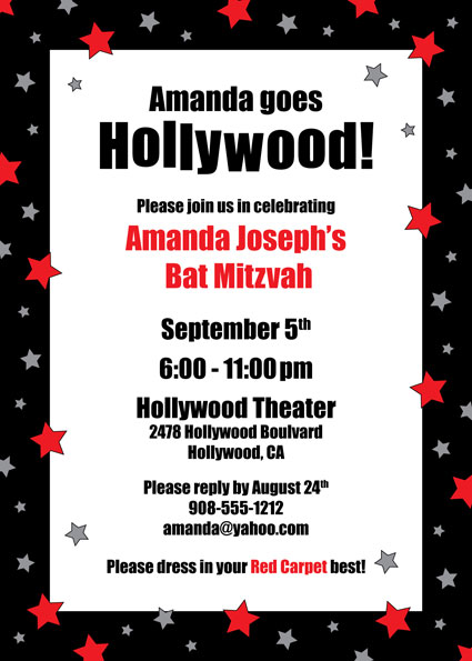 Fantastic hollywood invitation templates gallery example hollywood birthday party invitation wording cogimbo stopboris Image collections