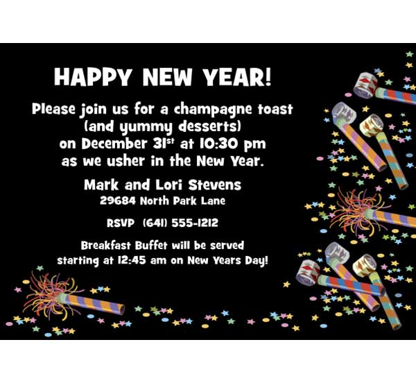 New Years Party Invitations With The Appropriate Color