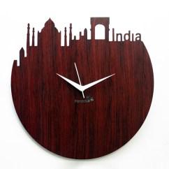 Contemporary Sofa Sets India Home Decorators Collection Gordon Tufted Panache Skyline Design Wall Clock - Brown ( Wood ...